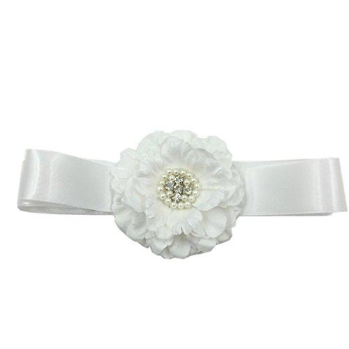 - Flower Girls Sash Belt with Bead Wedding Gown Sash Peony Flower Silk Belt JB24 (6-White)