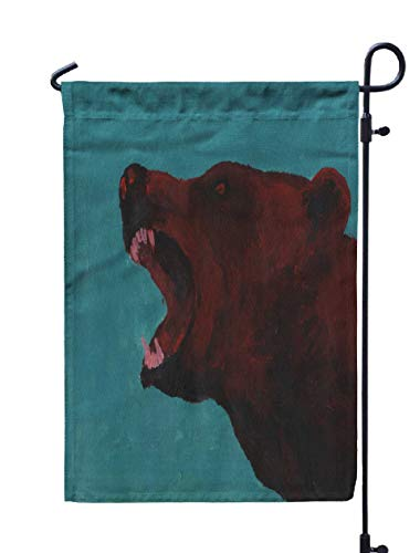 Shorping Welcome Garden Flag, 12x18Inch Angry Savage Bear Grizzly Roar Wildlife Symbol Brown Silhouette Blue Background Acrylic Artwork Wild for Holiday and Seasonal Double-Sided Printing Yards Flags -