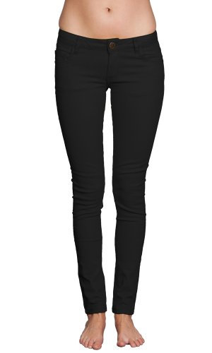 Women's Skinny Colorful Brushed Cotton Tapered Stretch Jeans Black 5