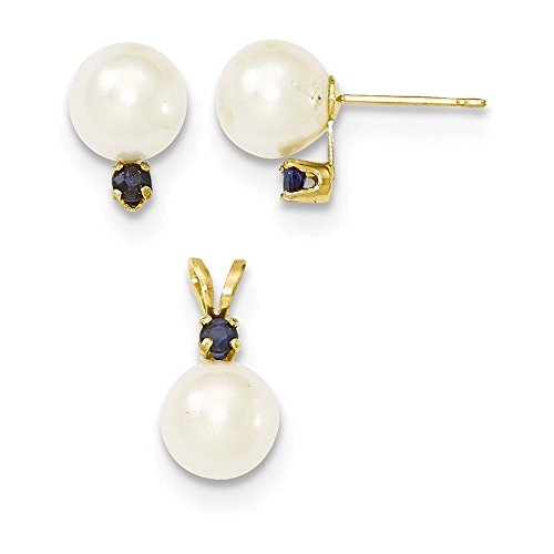 14k 7-8mm White FW Cultured Pearl & Sapphire Stud Ear & Pendant