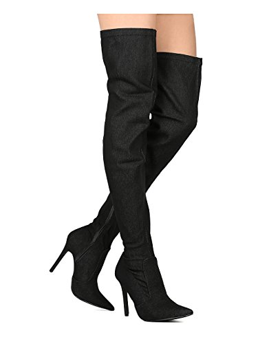 Thigh Pointy Denim CAPE Boot Women Stiletto High Black Toe GB21 ROBBIN Denim tw74Rx4qnA