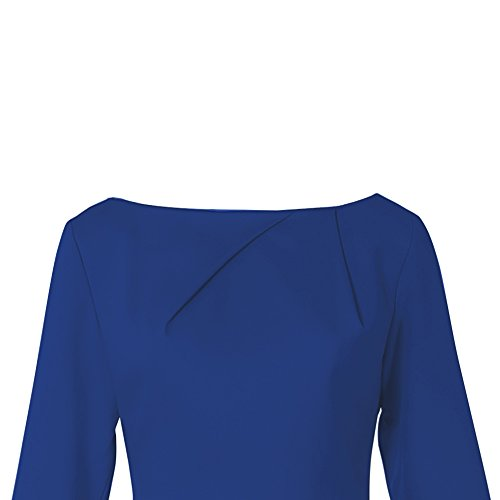 Samuume Solid Sleeve Pencil Ruffle Wrap Dress Party Women Midi Blue Elegant qE7wrxSEnT