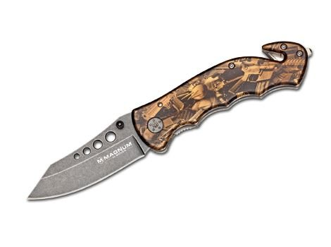 Magnum Boker 01LG288 Bronze Rescue Pocket Knife with 3 1/8 in. 440C Stainless Steel Blade, Brown