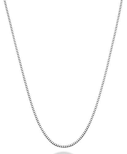 Box 10k Gold Necklace Venetian (MiaBella 925 Sterling Silver Italian Thin 1.6mm Square Venetian Mirror Box Link Chain Necklace for Men Women, 18