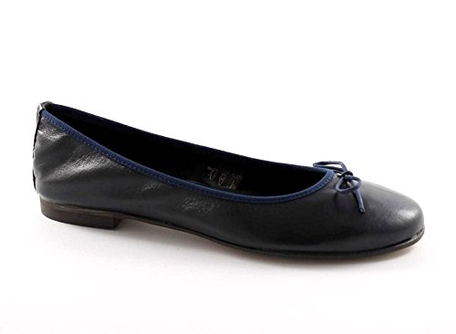 Blu Pelle Donna Bow Gemma In E500sf Ballerine Shoes Blu Italy Made wUq1nHXa