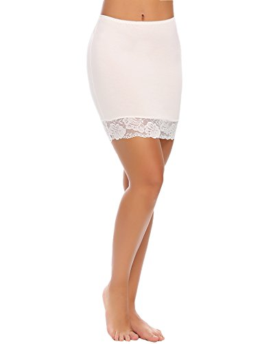 ADOME Women's Adjustable Waist Mini Half Slip Short Underskirt Lace Hem Lingerie White - Half Slip Mini