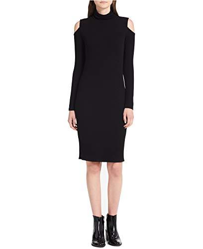 Calvin Klein Jeans Women's Cold-Shoulder Ribbed Sweater Dress (Black, X-Large)