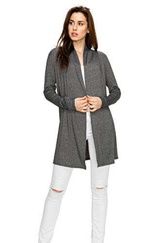 EttelLut Long Open Front Lightweight Soft Knit L/Sleeve Cardigans for Women Black and Gray Charcoal M (Sweater Fleece Nordstrom)