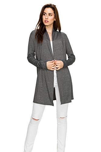 EttelLut Long Open Front Lightweight Soft Knit L/Sleeve Cardigans for Women Plus Size 2X Charcoal XXL