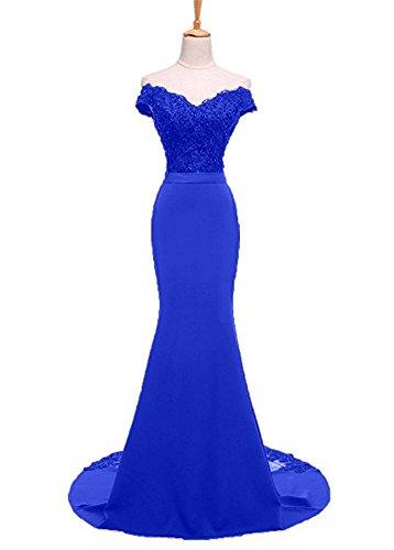 Bainjinbai Meerjungfrau Cocktail Brautjungfernkleider Lang Ballkleider Shulterfrei Damen Royal Blue Abendkleider qrprtHy