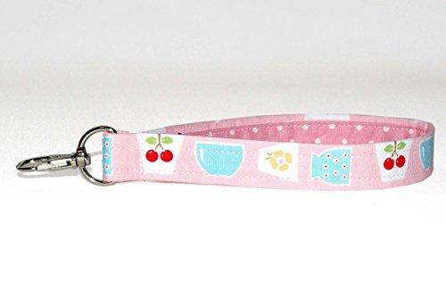 Pink Key Fob Wristlet - Vintage Pyrex & Fire King Print Keychain - Purse Strap - 3/4