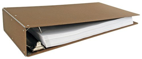 11x17 3-Inch Hardboard Aluminum Hinge Binder, Angle-D Ring, Brown (518461)