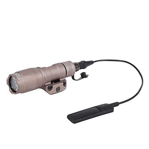 FARMSOLDIER M300A Tactical LED Mini Scout Flashlight Torch, Weapon Light with Pressure Switch Picatinny Mount Rail Offset Ring Side Mount for Hunting Hiking Tan ...