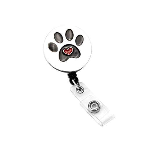 AYHU Heart Love Pet Dog/Cat Paw Office Retractable Badge Reel Nurse Name ID Badge Holder with 360° Swivel Alligator Swivel Clip (Black)