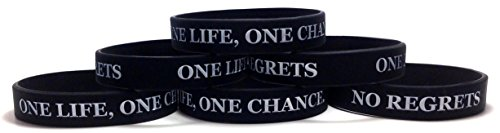TheAwristocrat 6 Pack ONE Life, ONE Chance. NO Regrets Inspirational Silicone Wristband Rubber Bracelet (Black, Youth (7