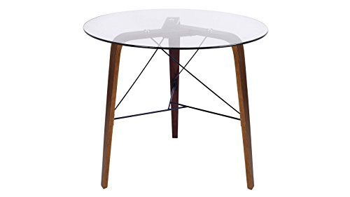Modern Terrah Bistro Table - Walnut Frame/Clear Glass (Lumisource Modern Table)