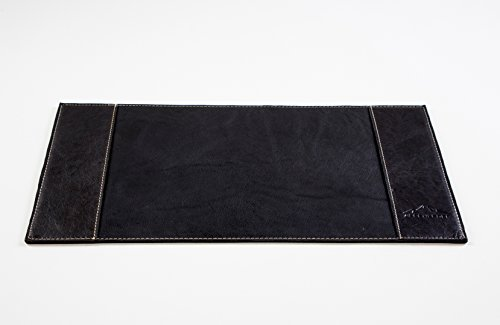 (ALPENLEDER 11 x 22 Inch Genuine Leather Desk Pad - Luxury Buffalo Leather Desk Blotter - Award Winning Design Desk Mat for The Office and Home - Designed in Germany, Black)