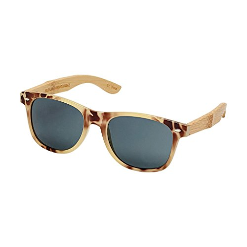 BLUE PLANET CLASSIC BP10258 - Ivory Tortoise / Natural Bamboo / Smoke Polarized - Blue Sunglasses Planet
