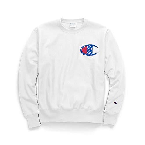 (Champion LIFE Men's Reverse Weave Sweatshirt, White/Sublimated c Logo, XX-Large)
