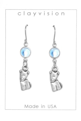 Clayvision German Shepherd Beagle Tilt Dog Charm Earrings with Light Sapphire Colored Swarovski Crystals (Tilt Womens Ring)