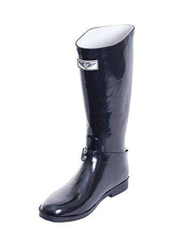 Womens Mid-Calf Cowboy Rider Style Rubber Rain Boots Solid Black fIjje