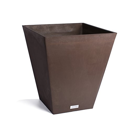 Veradek Nobleton Planter, 18-Inch Height by 16-Inch Width by 16-Inch Length, Espresso - Square Brown Pot