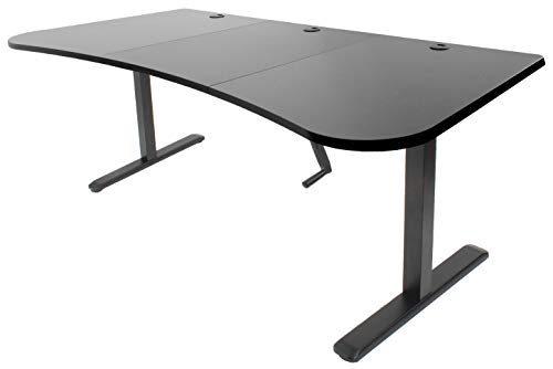 VIVO Black Height Adjustable Stand Up Desk Frame, Crank System, Workstation with 3 Section Table Top | Frame and Desktop Combo (DESK-KIT-1M1B)