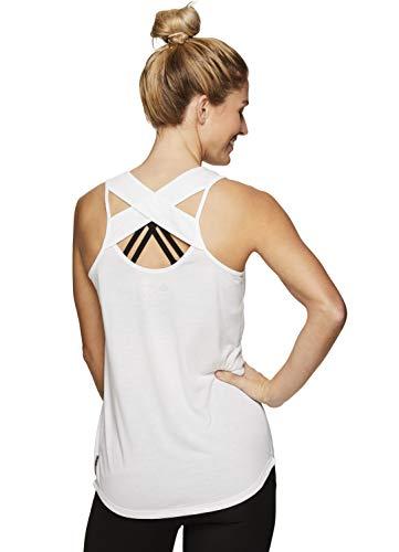 RBX Active Women's Criss Cross Workout Running Yoga Tank Top CC White XL