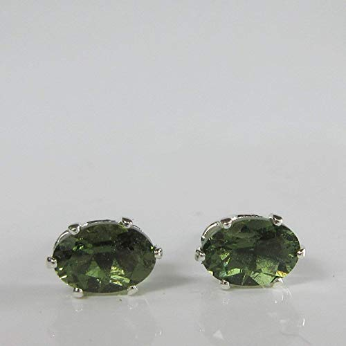 - Moldavite 6x4mm Sterling Silver Stud Earrings