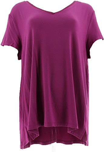 H Halston Essentials V-Neck Top Forward Notch Elderberry M New A306231 from H by Halston