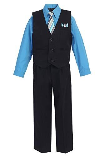 iGirldress Little Boys' and Special Occasion Pinstripe Vest Set Black/Vivid Blue 7 ()