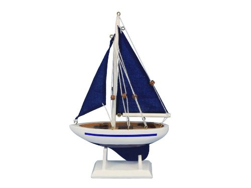Hampton Nautical  Pacific Sailer Blue/Blue Sails 9 Hampton Nautical Model Ship, Fully Assembled (Not a Kit)