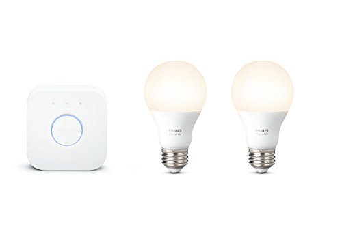Philips Hue White A19 60W Equivalent Smart Bulb Starter Kit (Compatible with Amazon Alexa, Apple HomeKit, and Google Assistant)