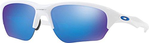 Oakley Men's OO9363 Flak Beta Rectangular Sunglasses, Polished White/Sapphire Iridium, 64 mm