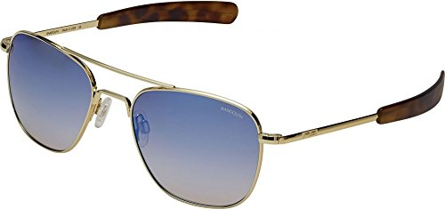 Randolph  Men's Aviator 55mm 23k Gold/Oasis Metallic Nylon Anti-Reflective One - Size Sunglasses Aviator 55