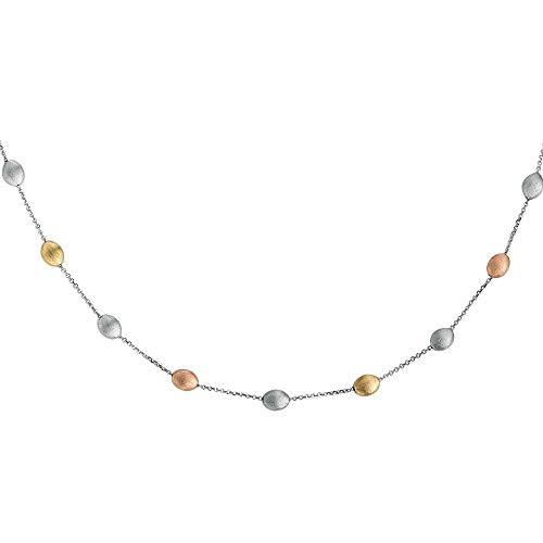 14k Yellow and Rose Gold and Sterling Silver Tri-Color Brushed Finish Pebble Station Necklace, 18 inches