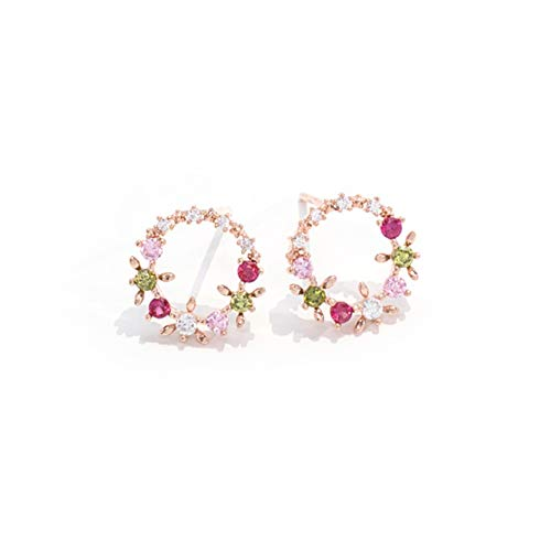 Open Circle Flower Stud Earrings with Cubic Zirconia For Woman Teen Girls (Rose gold) - Gold Leaf Circle Pin