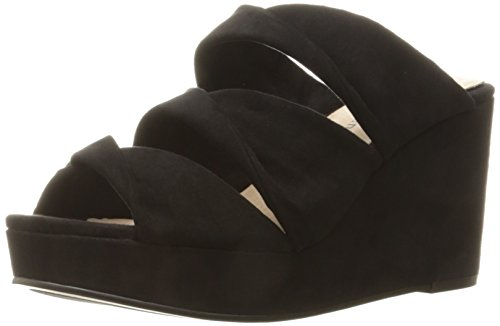 Linge Chinois Femmes Carlie Wedge Slide Sandale Noir Daim