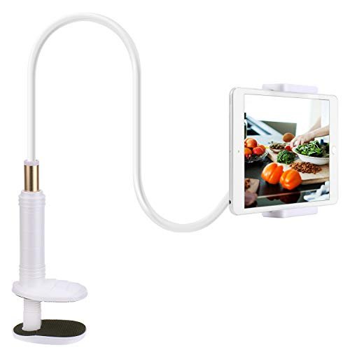 Gooseneck Tablet Phone Holder,PEYOU Flexible Long Arm Lazy Cellphone Tablet Clamp Desk Bed Stand Compatible for iPad iPhone Samsung Galaxy Tablets Kindle Nintendo Switch 4