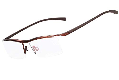 LUOMON Non-Prescription Glasses Men 54mm Semi Rimless Plain Eyeglasses with Brown TR90 Unbreakable Frame EG001