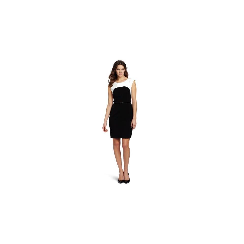 Calvin Klein Womens Color Block Sleeveless Dress, Eggshell/Black, 6