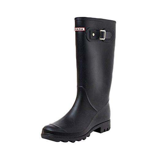 Xinwcang Agua Impermeable Wellington Negro Calzado Boots Mujer para Casual Bota de Botas fnfr8Wx