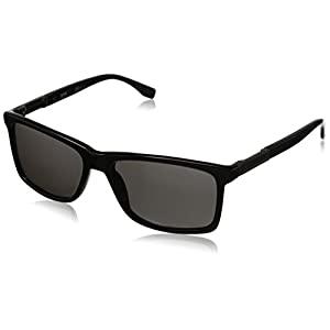 BOSS by Hugo Boss Men's B0704PS Polarized Rectangular Sunglasses, Black Dark Ruthenium & Gray Polarized, 57 mm