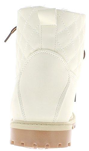 ChaussMoi Botas Blanco Mujer llenada 3 cm Tronco Acolchado Talones