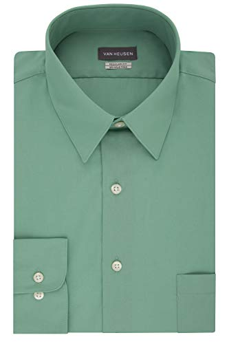 (Van Heusen Men's Dress Shirt Regular Fit Poplin Solid, Leaf, 17