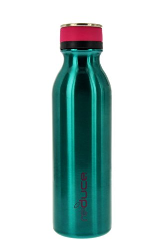 reduce COLD-1 Stainless Steel Vacuum Insulated Hydro Pro Bottle with Nonslip Rubber Base, 20oz - Tasteless and Odorless (Teal w/Pink Accents)