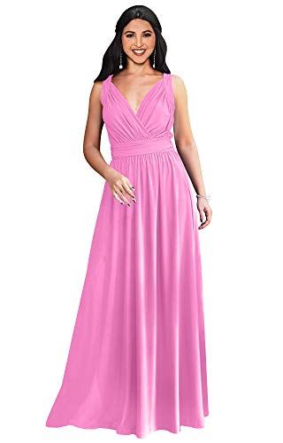 - KOH KOH Womens Long Sleeveless Flowy Bridesmaids Cocktail Party Evening Formal Sexy Summer Wedding Guest Ball Prom Gown Gowns Maxi Dress Dresses, Hot Fuchsia Pink L 12-14