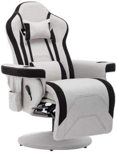 Gaming Recliner Chair - Single Recliner Sofa with 2 Cupholders, Headrest and Lumbar Support E-Sports Swivel Chair with Footrest, Ergonomic High Back Computer Chair with Height Adjustment