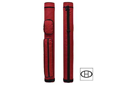 2x2 Hard Oval Pool Cue Billiard Stick Carrying Case (Several Colors Available) (Red(New))