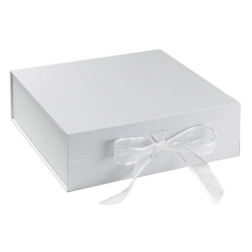 BabywearUK Keepsake Box - White box with bow (Premium)